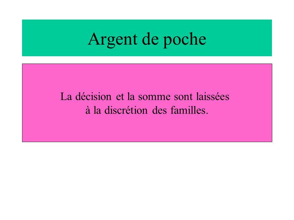 Argent de poche La décision et la somme sont laissées à la discrétion des familles.