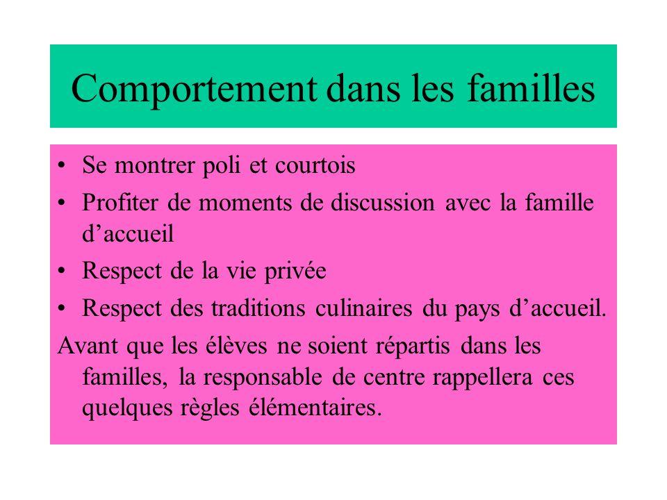 Comportement dans les familles Se montrer poli et courtois Profiter de moments de discussion avec la famille d'accueil Respect de la vie privée Respect des traditions culinaires du pays d'accueil.