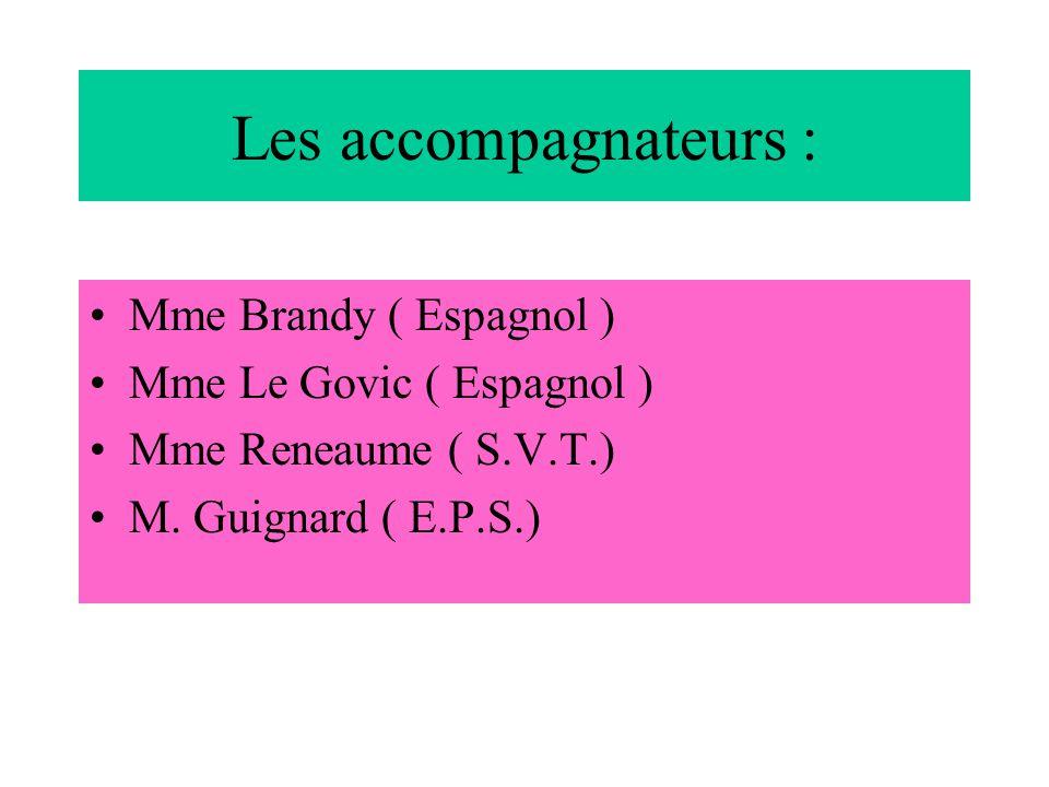 Les accompagnateurs : Mme Brandy ( Espagnol ) Mme Le Govic ( Espagnol ) Mme Reneaume ( S.V.T.) M. Guignard ( E.P.S.)