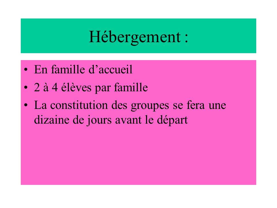 Hébergement : En famille d'accueil 2 à 4 élèves par famille La constitution des groupes se fera une dizaine de jours avant le départ