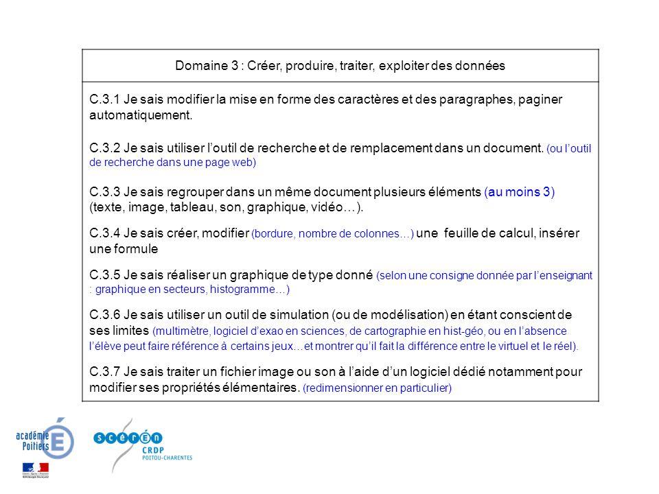 Domaine 3 : Créer, produire, traiter, exploiter des données C.3.1 Je sais modifier la mise en forme des caractères et des paragraphes, paginer automat