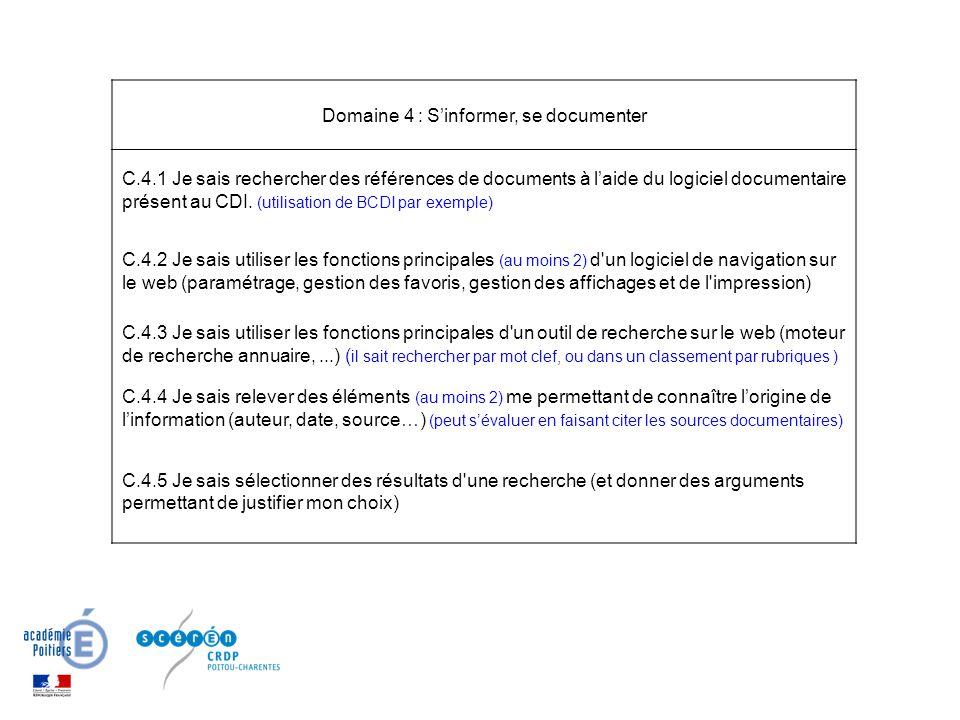 Domaine 4 : S'informer, se documenter C.4.1 Je sais rechercher des références de documents à l'aide du logiciel documentaire présent au CDI. (utilisat