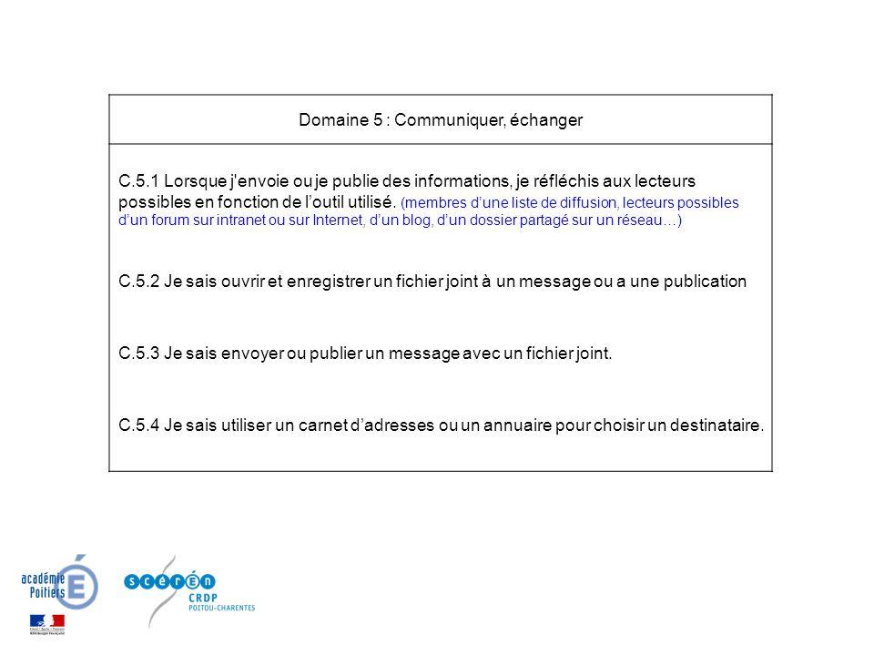 Domaine 5 : Communiquer, échanger C.5.1 Lorsque j envoie ou je publie des informations, je réfléchis aux lecteurs possibles en fonction de l'outil utilisé.