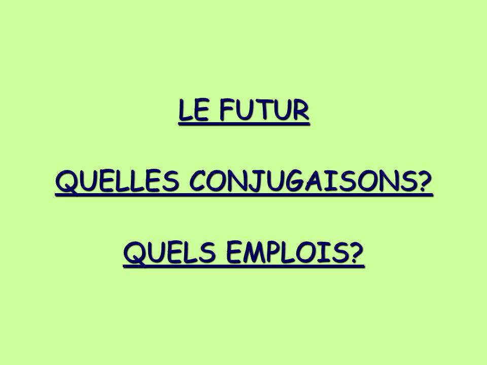 LE FUTUR QUELLES CONJUGAISONS? QUELS EMPLOIS?