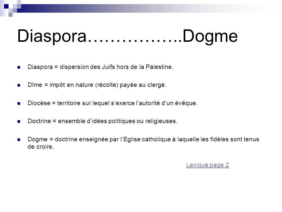 Diaspora……………..Dogme Diaspora = dispersion des Juifs hors de la Palestine. Dîme = impôt en nature (récolte) payée au clergé. Diocèse = territoire sur