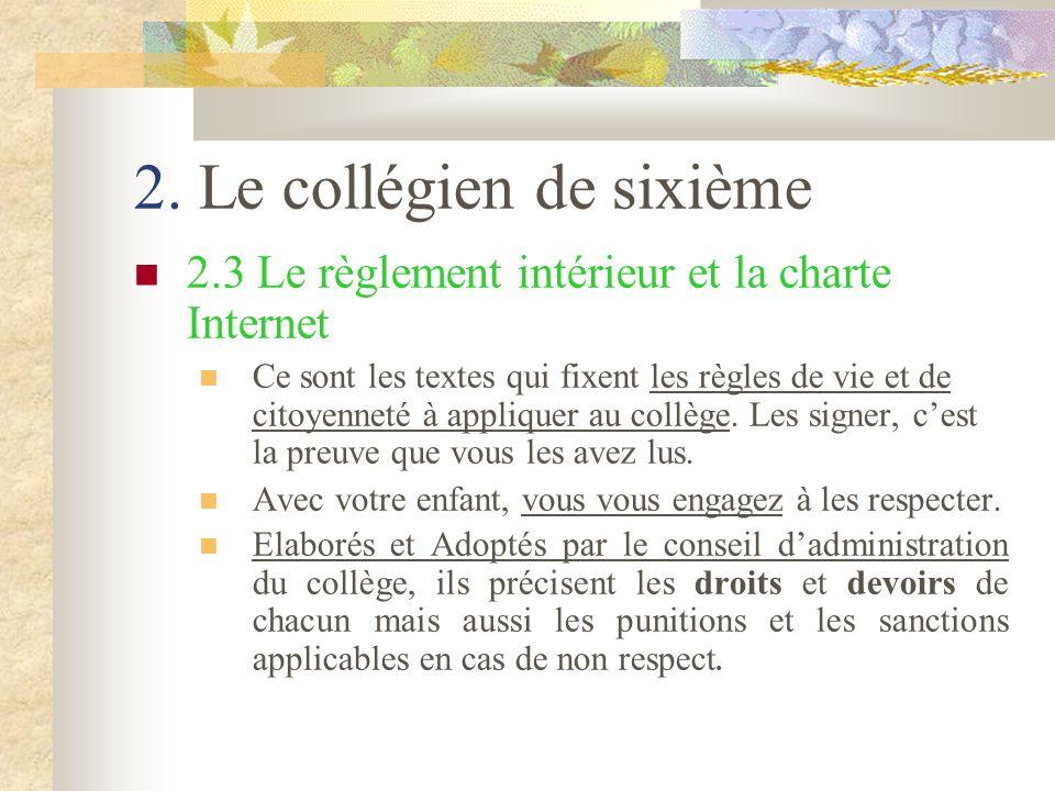 2. Le collégien de sixième 2.3 Le règlement intérieur et la charte Internet Ce sont les textes qui fixent les règles de vie et de citoyenneté à appliq