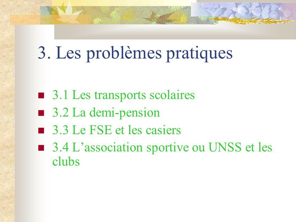 3. Les problèmes pratiques 3.1 Les transports scolaires 3.2 La demi-pension 3.3 Le FSE et les casiers 3.4 L'association sportive ou UNSS et les clubs