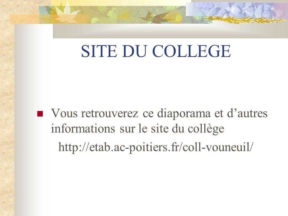 SITE DU COLLEGE Vous retrouverez ce diaporama et d'autres informations sur le site du collège http://etab.ac-poitiers.fr/coll-vouneuil/