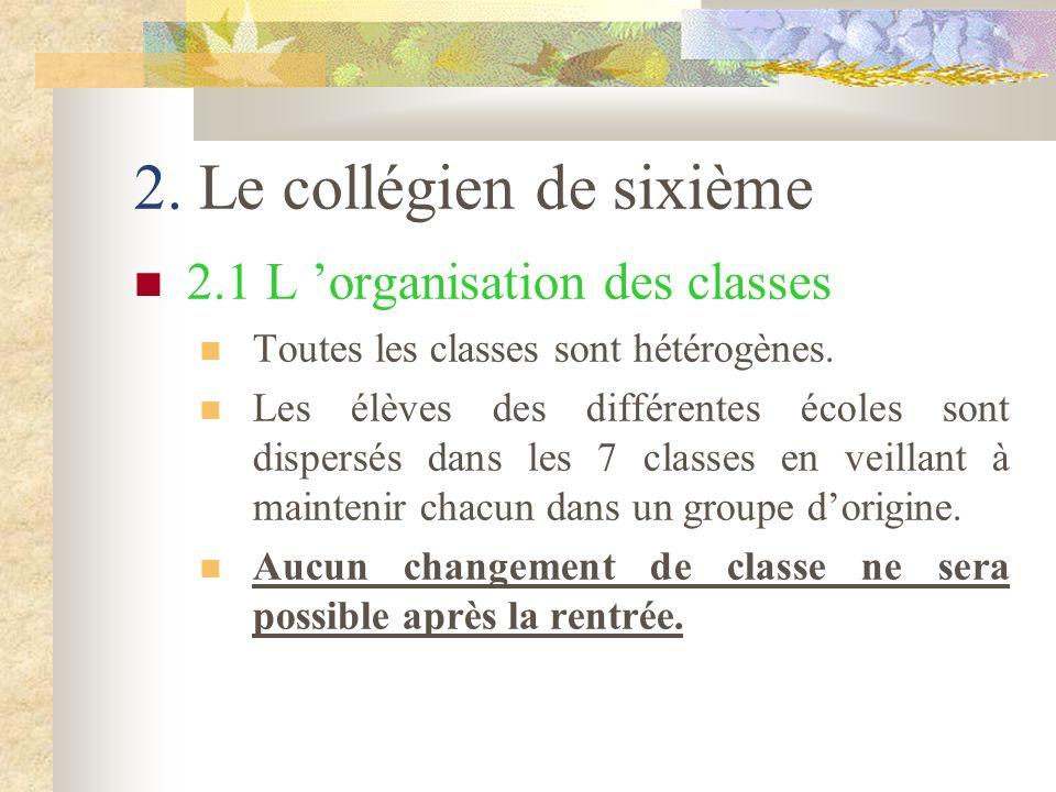 2.Le collégien de sixième 2.1 L 'organisation des classes Toutes les classes sont hétérogènes.