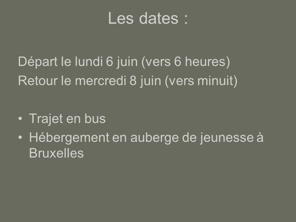Les dates : Départ le lundi 6 juin (vers 6 heures) Retour le mercredi 8 juin (vers minuit) Trajet en bus Hébergement en auberge de jeunesse à Bruxelle