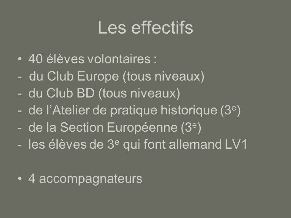 Les effectifs 40 élèves volontaires : - du Club Europe (tous niveaux) -du Club BD (tous niveaux) -de l'Atelier de pratique historique (3 e ) -de la Se
