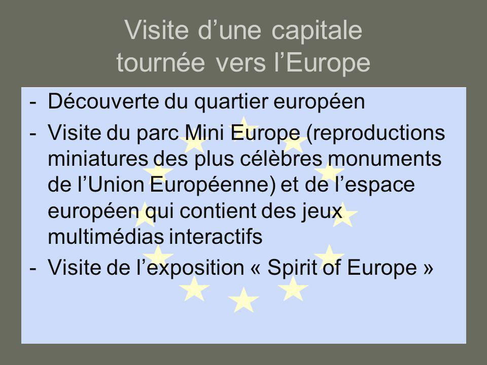 Visite d'une capitale tournée vers l'Europe -Découverte du quartier européen -Visite du parc Mini Europe (reproductions miniatures des plus célèbres m