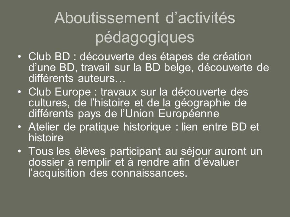 Aboutissement d'activités pédagogiques Club BD : découverte des étapes de création d'une BD, travail sur la BD belge, découverte de différents auteurs
