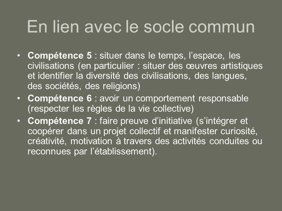 En lien avec le socle commun Compétence 5 : situer dans le temps, l'espace, les civilisations (en particulier : situer des œuvres artistiques et ident