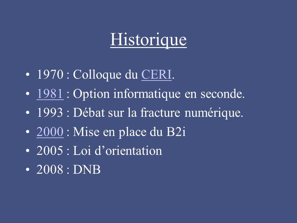 Historique 1970 : Colloque du CERI.CERI 1981 : Option informatique en seconde.1981 1993 : Débat sur la fracture numérique.