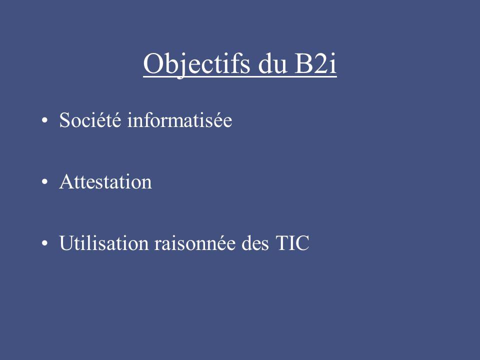 Objectifs du B2i Société informatisée Attestation Utilisation raisonnée des TIC