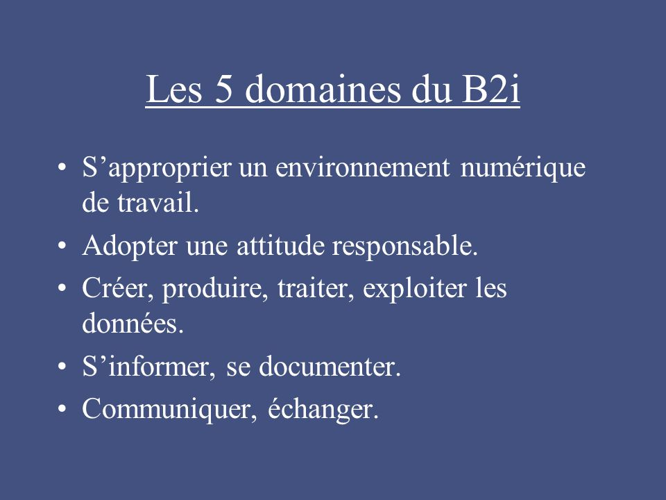 Les 5 domaines du B2i S'approprier un environnement numérique de travail.