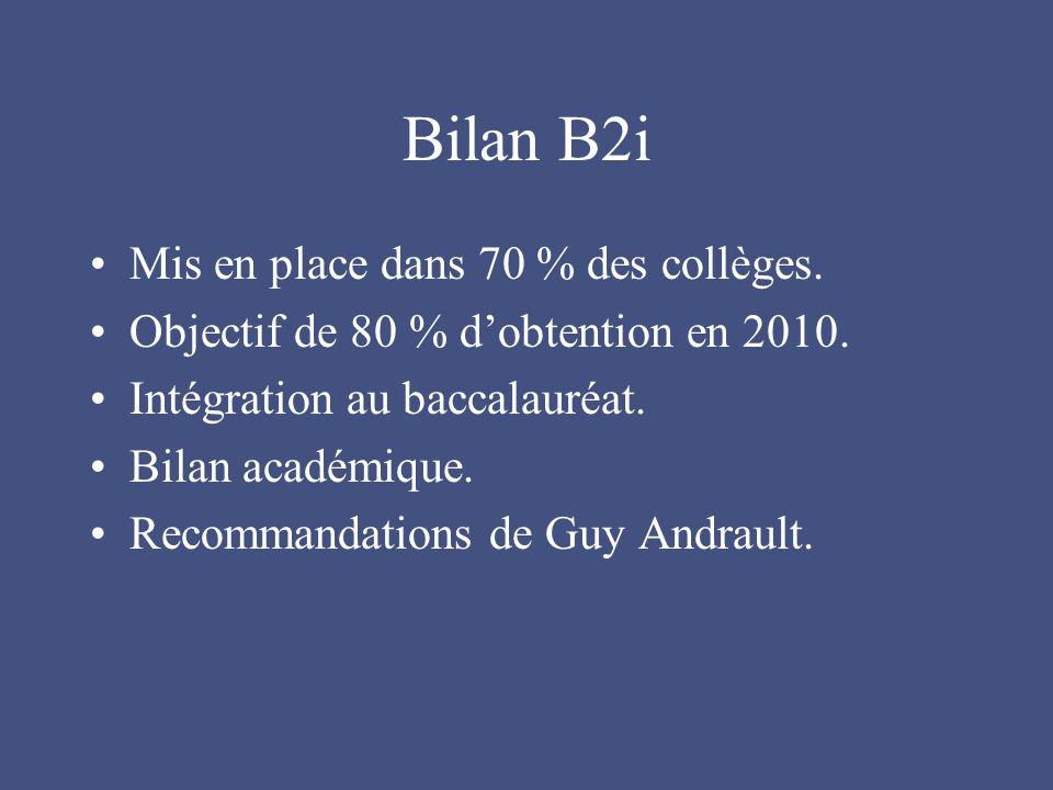 Bilan B2i Mis en place dans 70 % des collèges.Objectif de 80 % d'obtention en 2010.