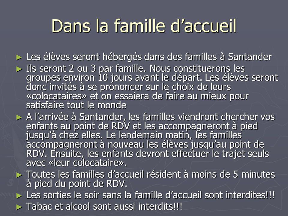 Dans la famille d'accueil ► Les élèves seront hébergés dans des familles à Santander ► Ils seront 2 ou 3 par famille. Nous constituerons les groupes e
