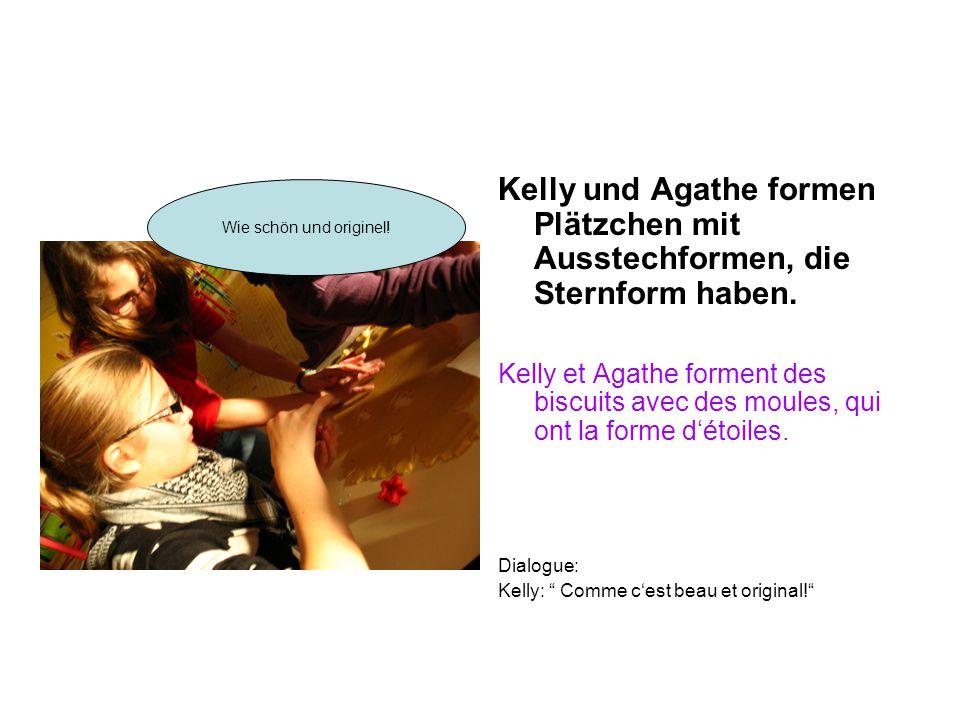 Kelly und Agathe formen Plätzchen mit Ausstechformen, die Sternform haben. Kelly et Agathe forment des biscuits avec des moules, qui ont la forme d'ét