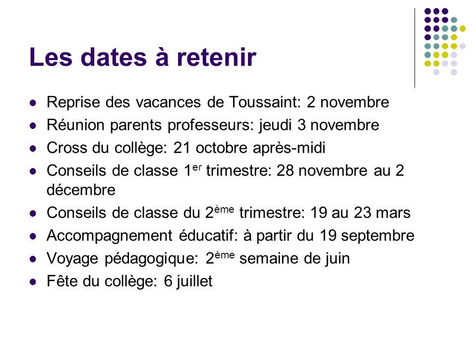 Les dates à retenir Reprise des vacances de Toussaint: 2 novembre Réunion parents professeurs: jeudi 3 novembre Cross du collège: 21 octobre après-mid