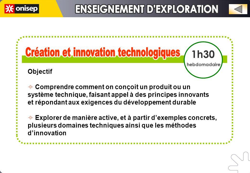 1h30 hebdomadaire Objectif  Comprendre comment on conçoit un produit ou un système technique, faisant appel à des principes innovants et répondant aux exigences du développement durable  Explorer de manière active, et à partir d'exemples concrets, plusieurs domaines techniques ainsi que les méthodes d'innovation