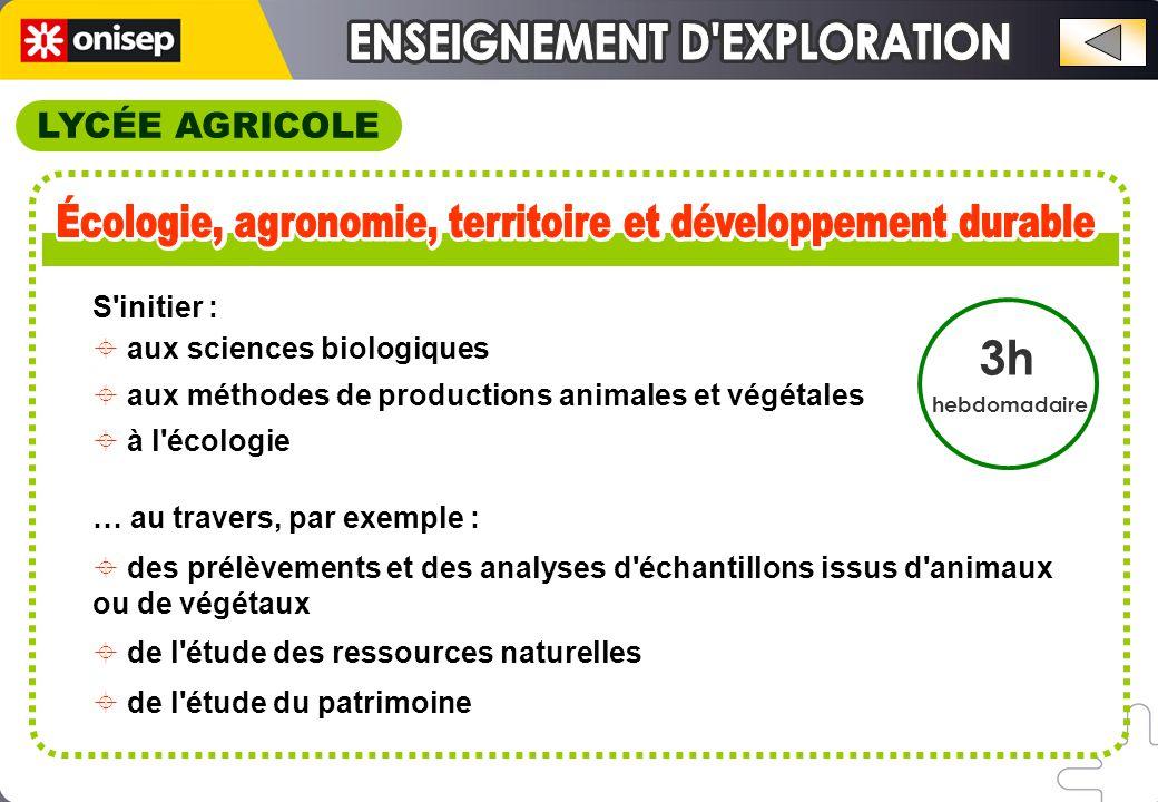 LYCÉE AGRICOLE 3h hebdomadaire S initier :  aux sciences biologiques  aux méthodes de productions animales et végétales  à l écologie … au travers, par exemple :  des prélèvements et des analyses d échantillons issus d animaux ou de végétaux  de l étude des ressources naturelles  de l étude du patrimoine