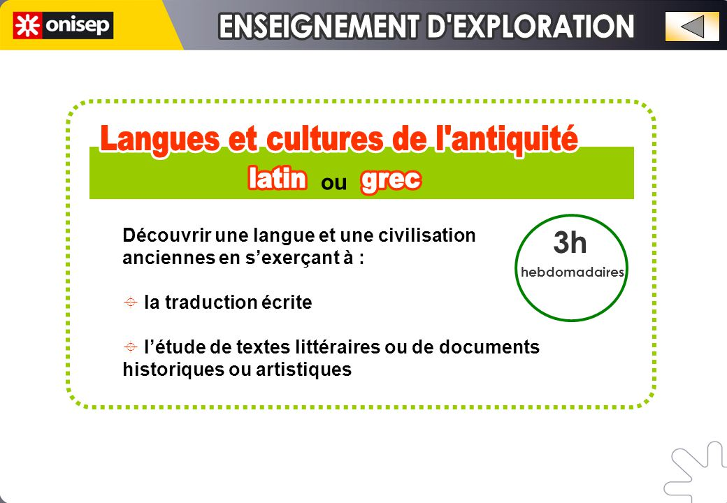 3h hebdomadaires Découvrir une langue, une civilisation, un mode de vie et de pensée différents au travers de l'étude du vocabulaire, de la grammaire, via la conversation, l'étude de textes, de documents, de films, de traductions…