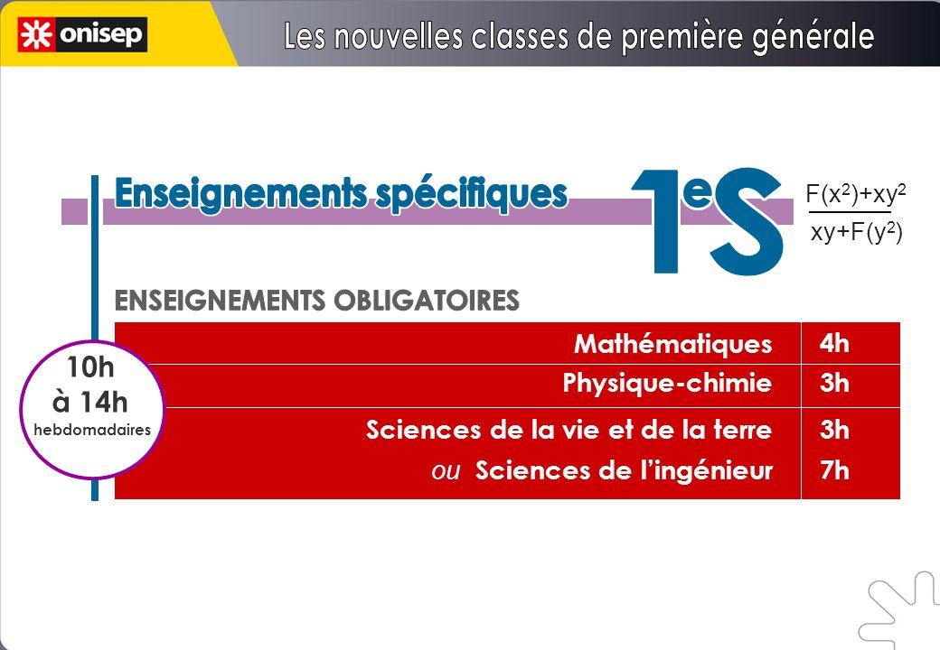 Mathématiques Physique-chimie Sciences de la vie et de la terre ou Sciences de l'ingénieur 4h 3h 7h F(x 2 )+xy 2 xy+F(y 2 ) 10h à 14h hebdomadaires