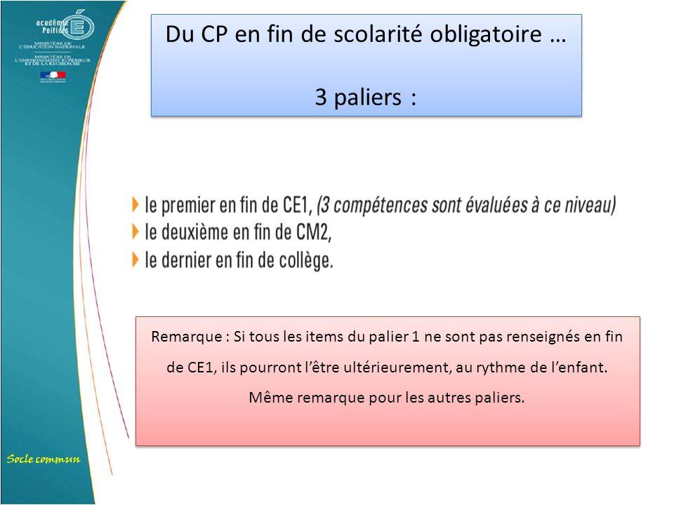 Socle commun Du CP en fin de scolarité obligatoire … 3 paliers : Du CP en fin de scolarité obligatoire … 3 paliers : Remarque : Si tous les items du p