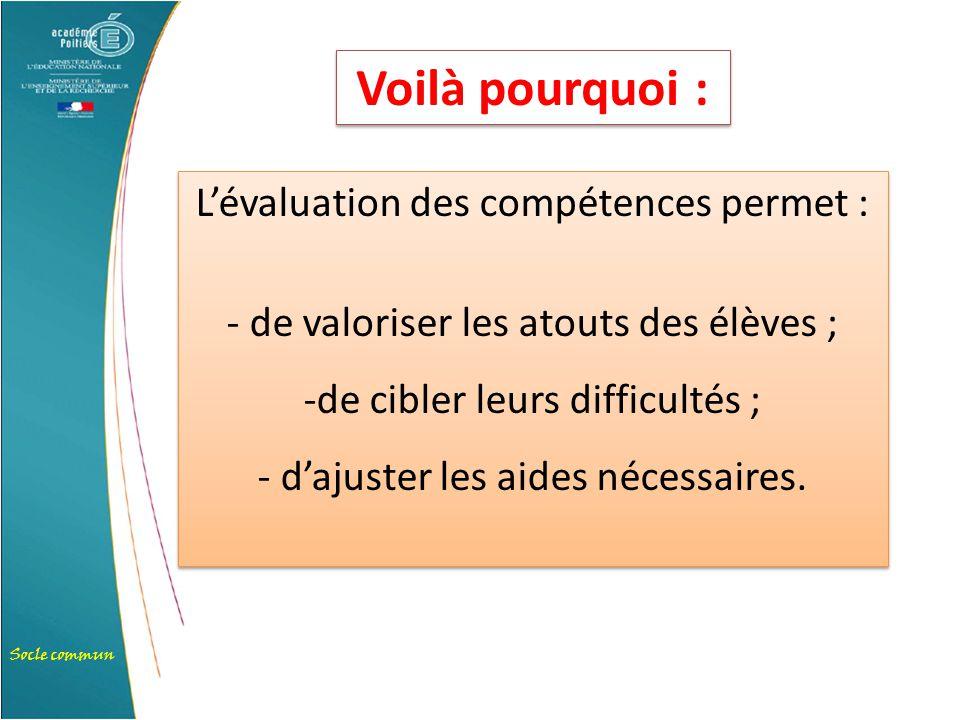 Socle commun L'évaluation des compétences permet : - de valoriser les atouts des élèves ; -de cibler leurs difficultés ; - d'ajuster les aides nécessa
