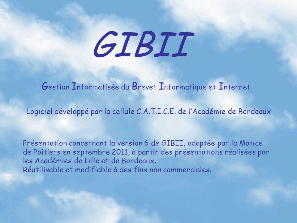 GIBII Logiciel développé par la cellule C.A.T.I.C.E. de l'Académie de Bordeaux Présentation concernant la version 6 de GIBII, adaptée par la Matice de