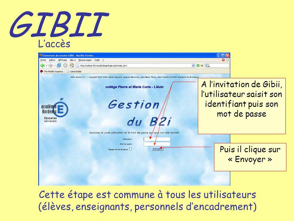 GIBII L'accès A l'invitation de Gibii, l'utilisateur saisit son identifiant puis son mot de passe Cette étape est commune à tous les utilisateurs (élè