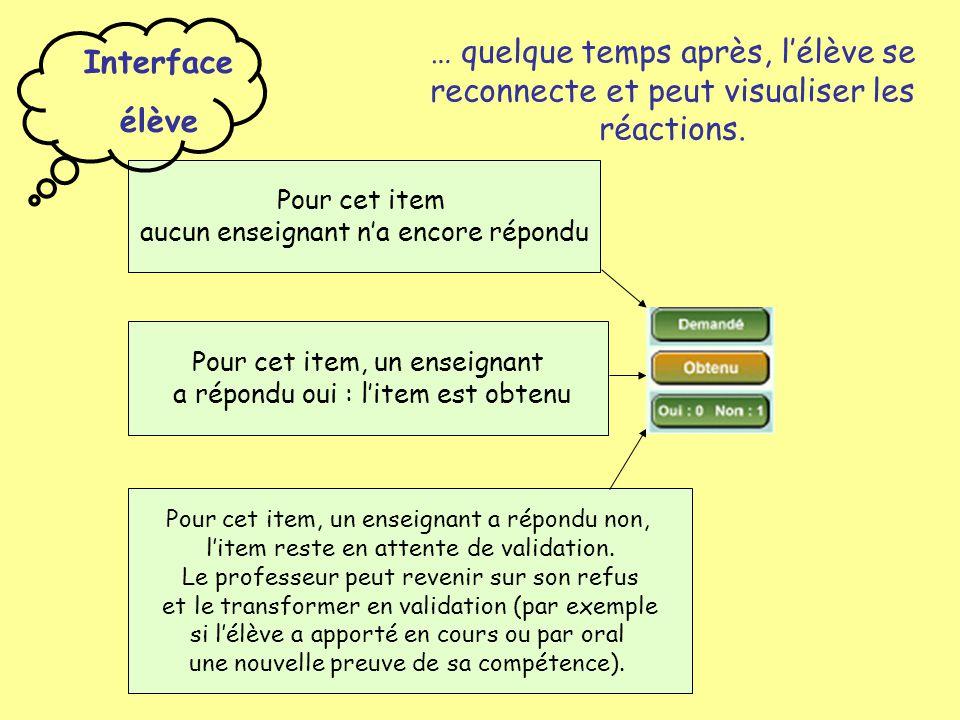 … quelque temps après, l'élève se reconnecte et peut visualiser les réactions. Pour cet item, un enseignant a répondu oui : l'item est obtenu Pour cet