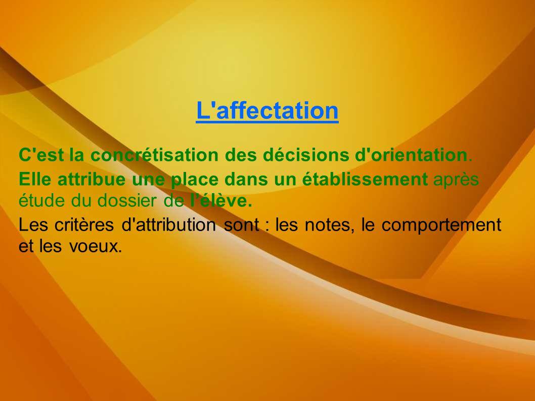 L'affectation C'est la concrétisation des décisions d'orientation. Elle attribue une place dans un établissement après étude du dossier de l'élève. Le
