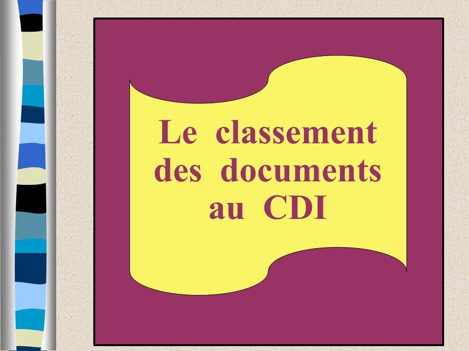 Le classement des documents au CDI