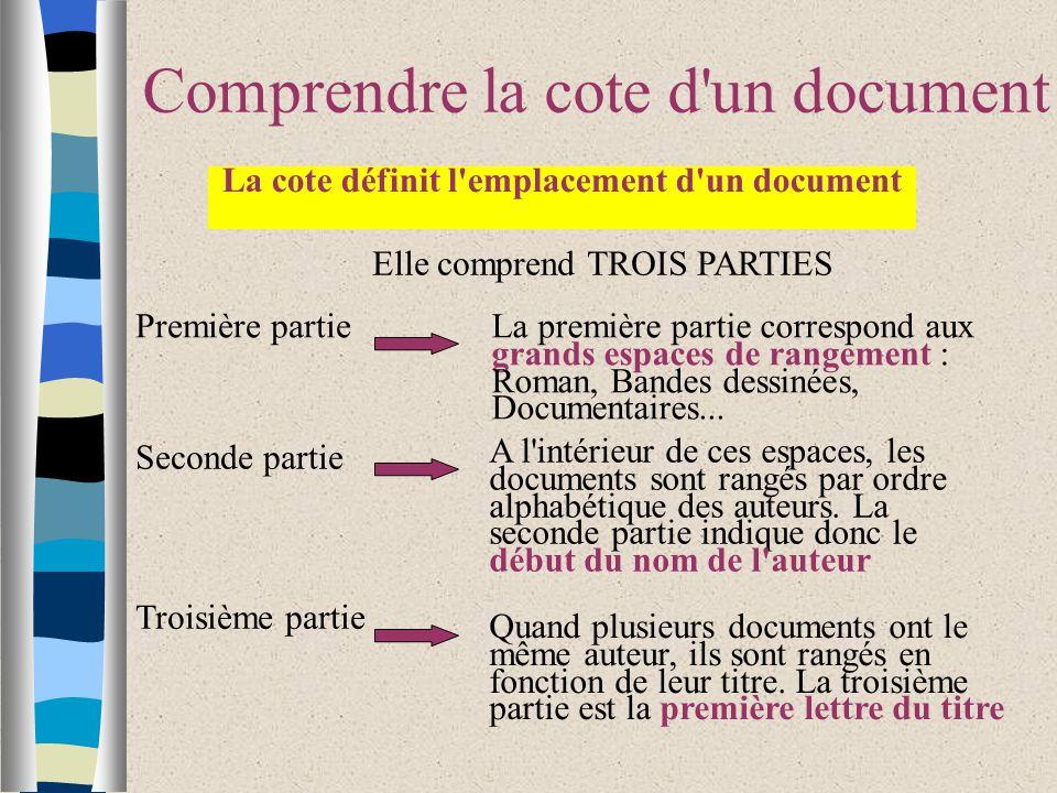 Comprendre la cote d un document La cote définit l emplacement d un document A l intérieur de ces espaces, les documents sont rangés par ordre alphabétique des auteurs.