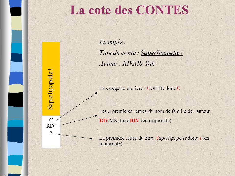 Saperlipopette .La cote des CONTES C RIV s Exemple : Titre du conte : Saperlipopette .