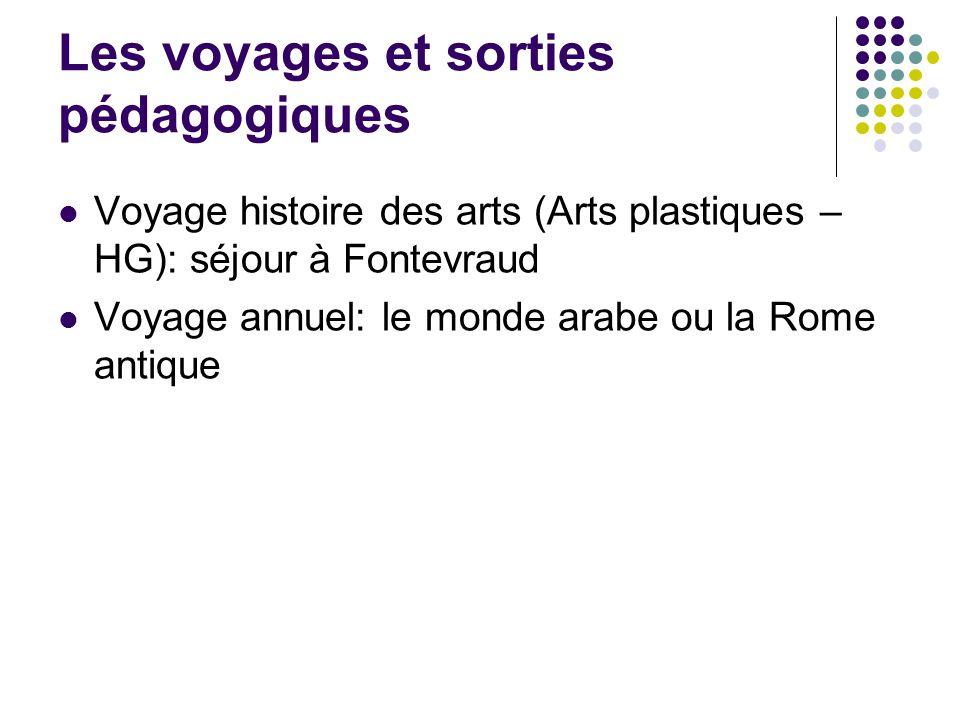 Les voyages et sorties pédagogiques Voyage histoire des arts (Arts plastiques – HG): séjour à Fontevraud Voyage annuel: le monde arabe ou la Rome anti