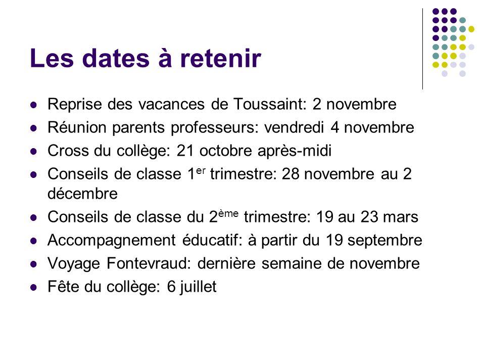 Les dates à retenir Reprise des vacances de Toussaint: 2 novembre Réunion parents professeurs: vendredi 4 novembre Cross du collège: 21 octobre après-