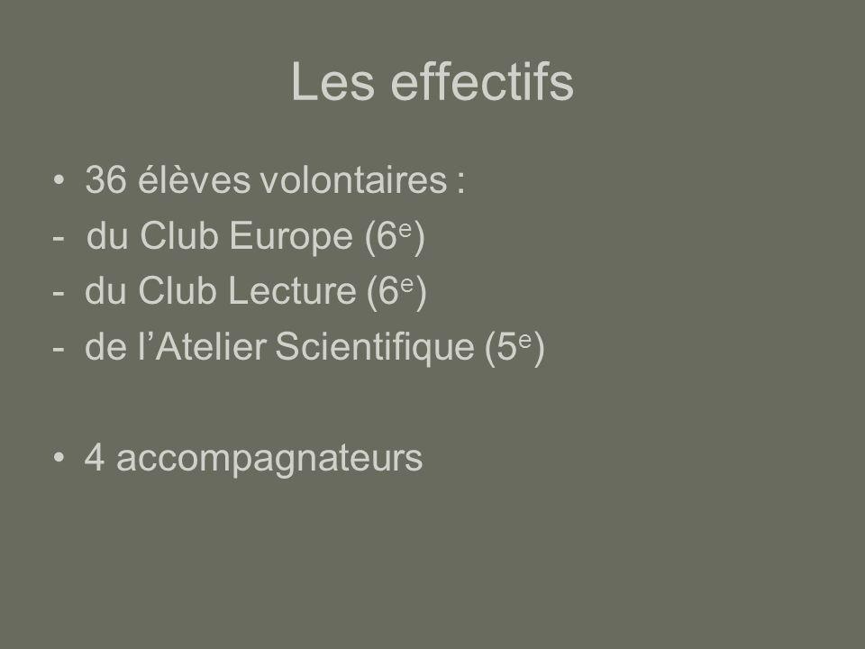 Les effectifs 36 élèves volontaires : - du Club Europe (6 e ) -du Club Lecture (6 e ) -de l'Atelier Scientifique (5 e ) 4 accompagnateurs