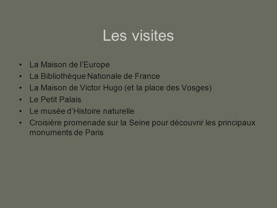 Les visites La Maison de l'Europe La Bibliothèque Nationale de France La Maison de Victor Hugo (et la place des Vosges) Le Petit Palais Le musée d'His