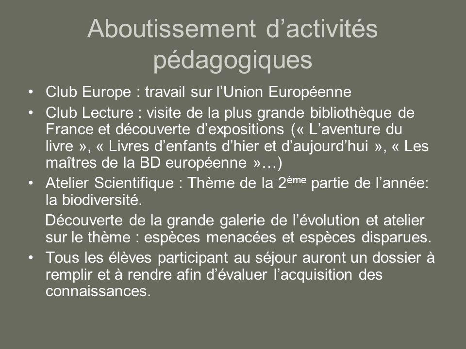 Aboutissement d'activités pédagogiques Club Europe : travail sur l'Union Européenne Club Lecture : visite de la plus grande bibliothèque de France et