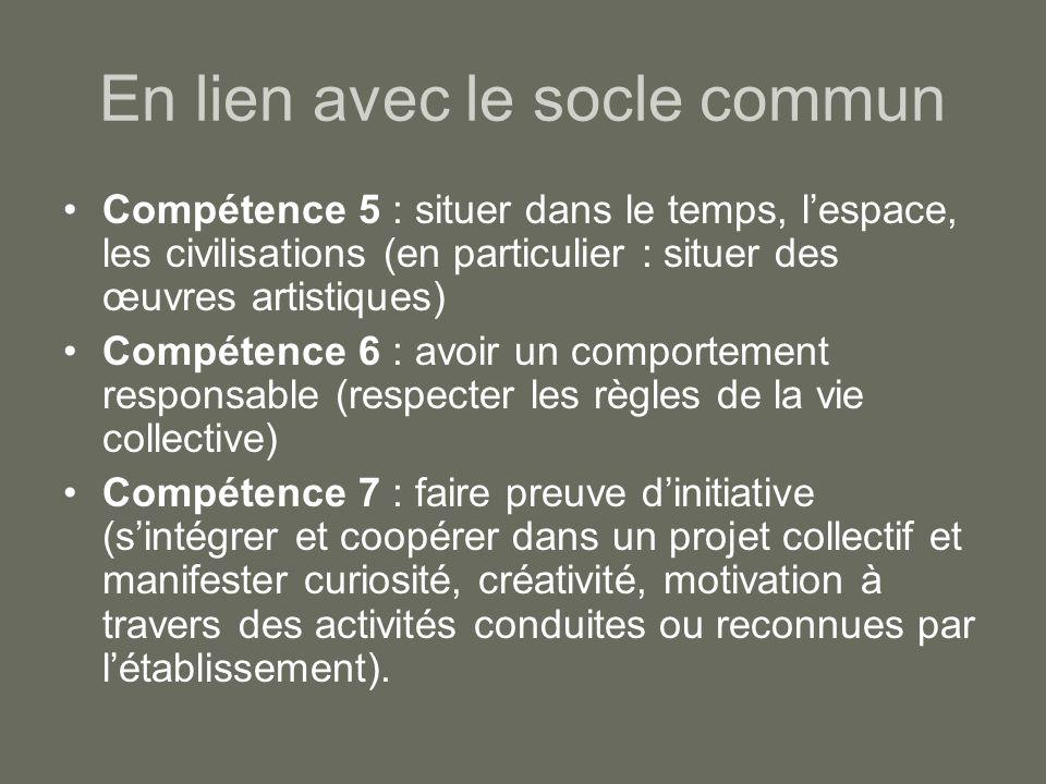 En lien avec le socle commun Compétence 5 : situer dans le temps, l'espace, les civilisations (en particulier : situer des œuvres artistiques) Compéte