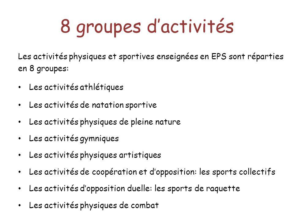 8 groupes d'activités Les activités physiques et sportives enseignées en EPS sont réparties en 8 groupes: Les activités athlétiques Les activités de n