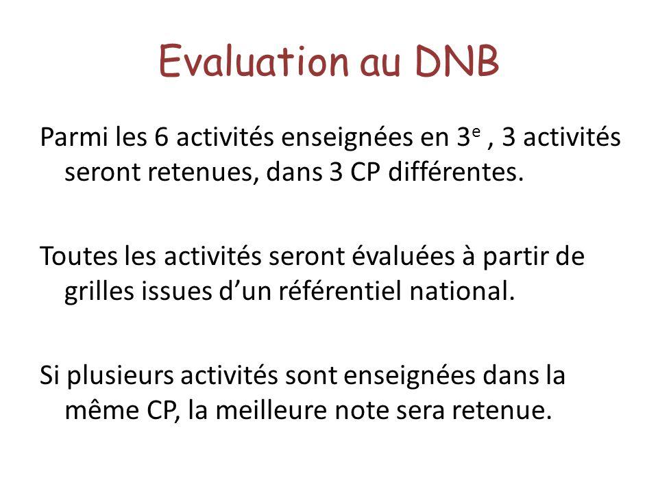 Evaluation au DNB Parmi les 6 activités enseignées en 3 e, 3 activités seront retenues, dans 3 CP différentes. Toutes les activités seront évaluées à