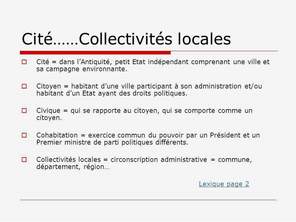 Cité……Collectivités locales  Cité = dans l'Antiquité, petit Etat indépendant comprenant une ville et sa campagne environnante.  Citoyen = habitant d