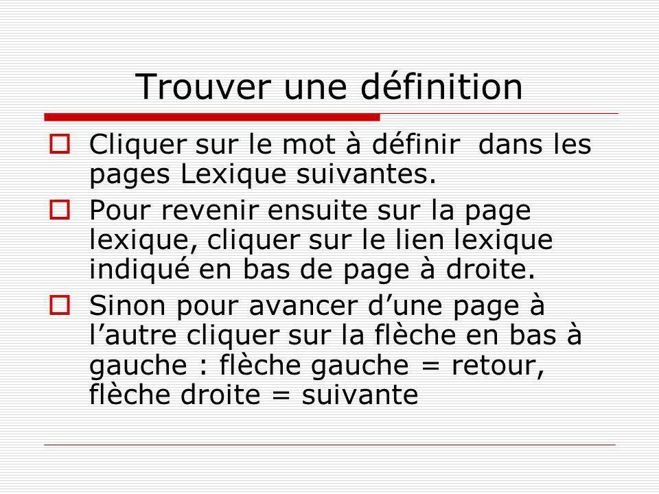 Trouver une définition  Cliquer sur le mot à définir dans les pages Lexique suivantes.  Pour revenir ensuite sur la page lexique, cliquer sur le lie