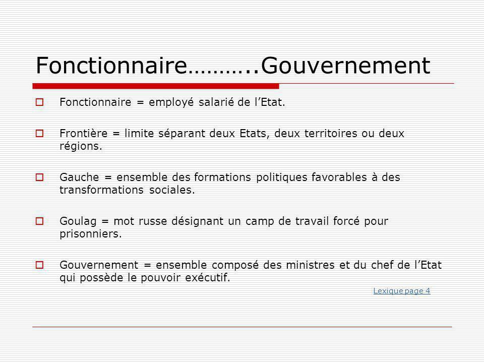 Fonctionnaire………..Gouvernement  Fonctionnaire = employé salarié de l'Etat.  Frontière = limite séparant deux Etats, deux territoires ou deux régions