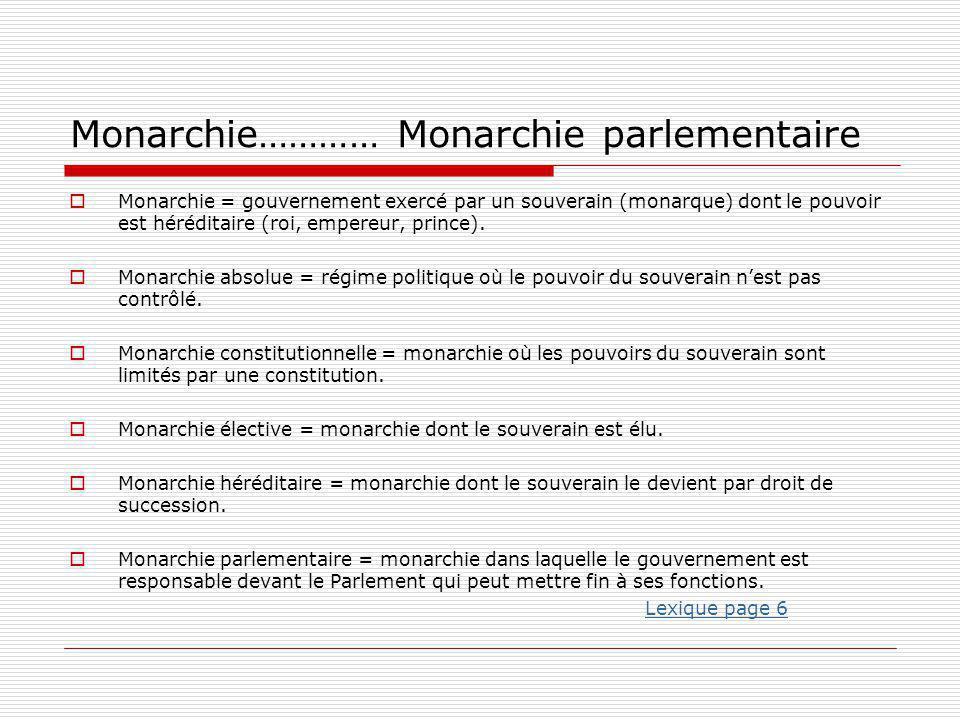 Monarchie………… Monarchie parlementaire  Monarchie = gouvernement exercé par un souverain (monarque) dont le pouvoir est héréditaire (roi, empereur, pr